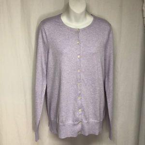 Lands End MT M T Purple Slub Button Down Sweater
